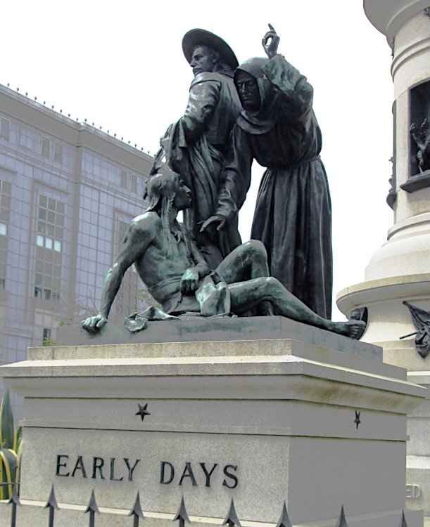 The 'Early Days' statue, created by Frank Happersberger, at Pioneer Monument in San Francisco, California. © Photo, Beyond My Ken