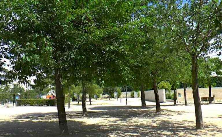 The White and Black Garden of Parc Andre Citroen - On the Left Side the Playground & on the Right the Esplanade Max Guedj