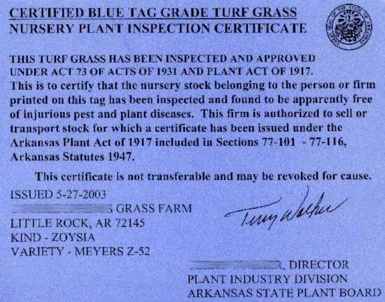 What is The Turfgrass Sod - Blue Tag of Arkansas State Certified Sod